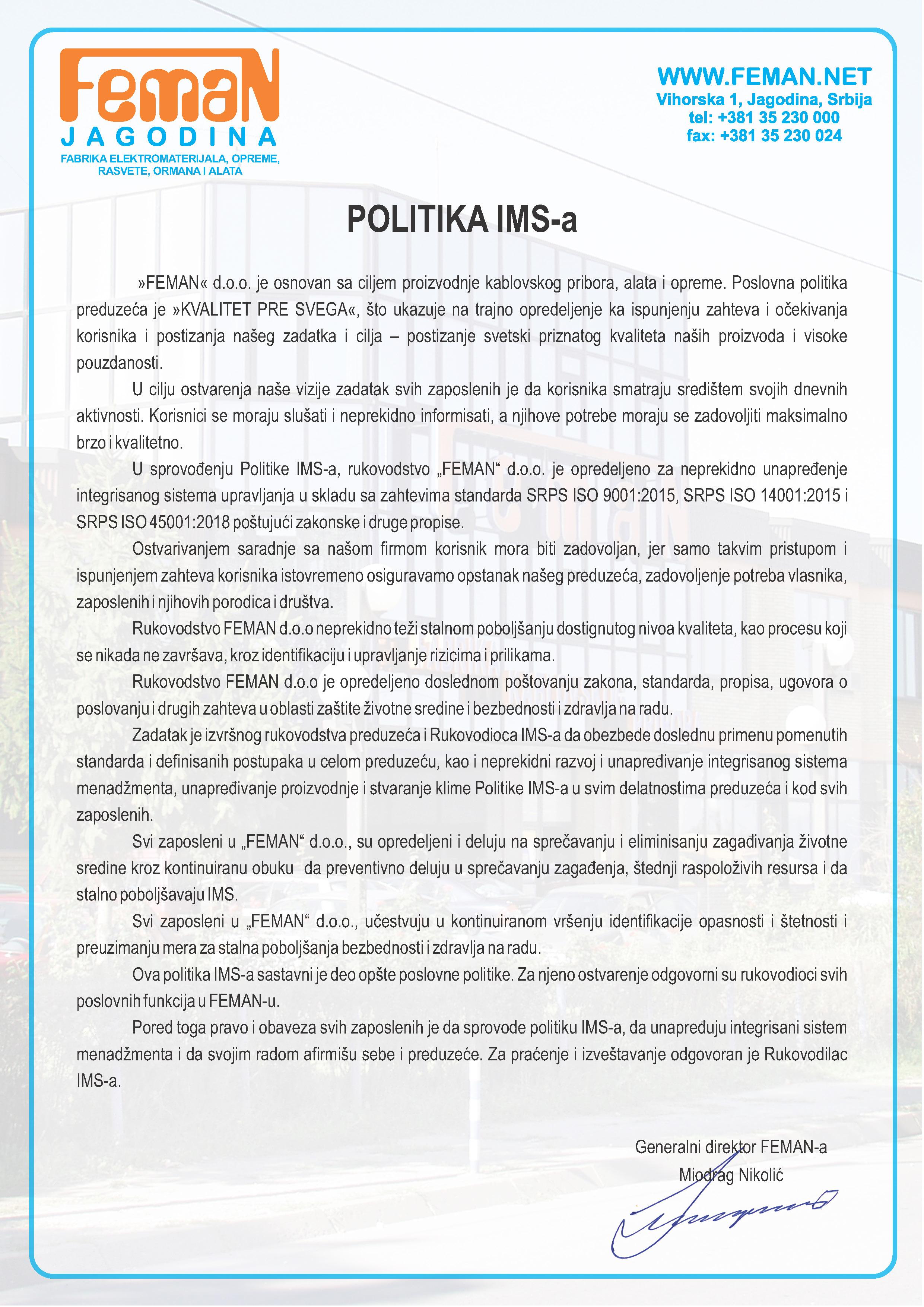 POLITIKA IMS-a 2019