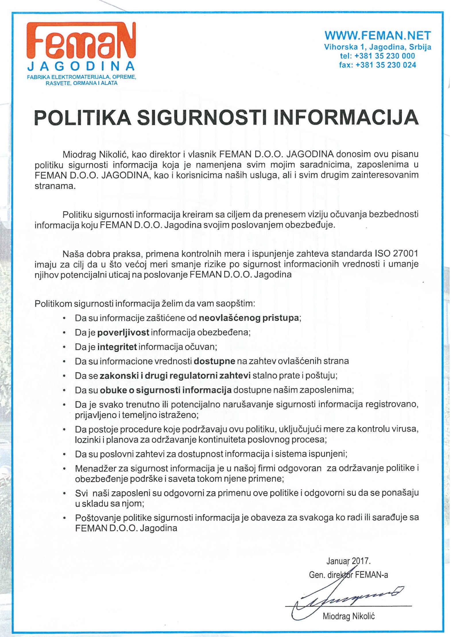 Politika sigurnosti informacija